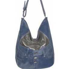 Объемная женская джинсовая сумка Hobo Tote голубого цвета