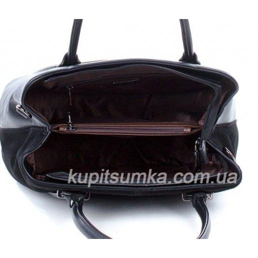 Женская сумка из замши и кожзаменителя черная 87D517