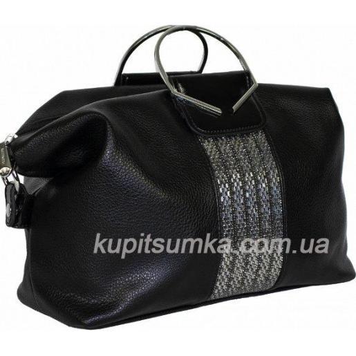 Интересная женская сумка из кожзаменителя с украшением страз Черный
