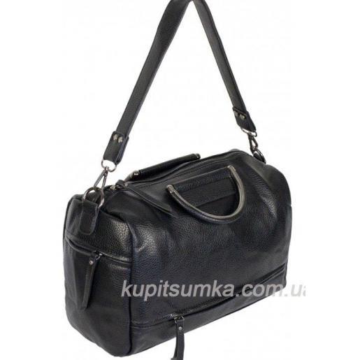 Повседневная женская сумка из кожзаменителя черного цвета