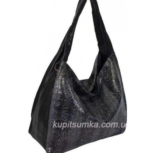 Женская сумка в форме баула из кожзаменителя с экзотическим принтом Чёрная