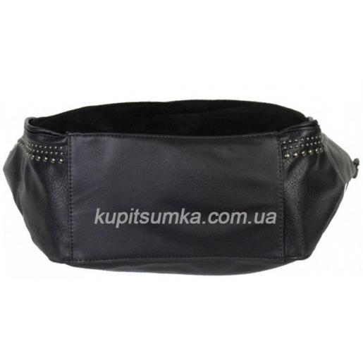 Женская сумка из замши и прессованной кожи 10D80 Черный