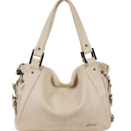 Женская сумка через плечо из экологической кожи бежевая 52D39-3
