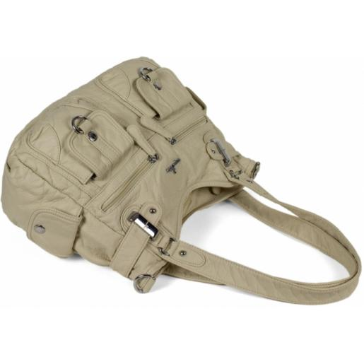Женская сумка на плечо из кожзаменителя бежевая 57D39-2