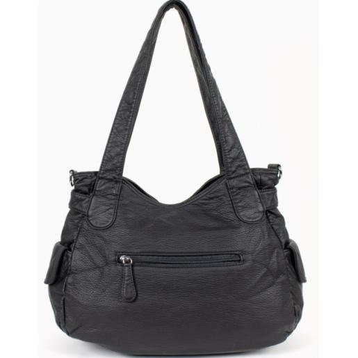Женская сумка через плечо черная из эко кожи 57D39-1