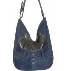 Объемная женская джинсовая сумка Hobo Tote серого цвета