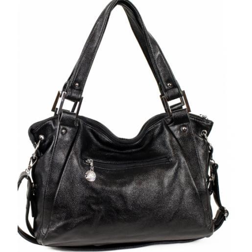 Женская черная сумка из  кожзаменителя 52D39-2