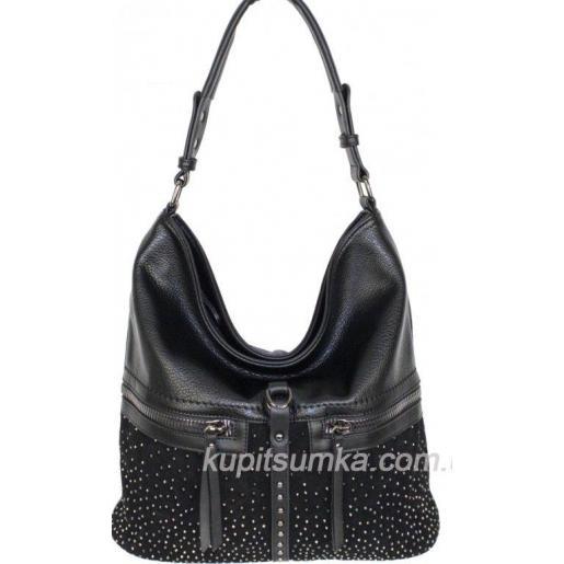 Повседневная сумка из прессованной кожи с натуральной замшей Чёрная