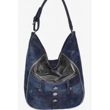 Объемная женская джинсовая сумка Hobo Tote синего цвета