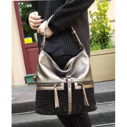 Женская сумка из кожзаменителя серая 96D30-1
