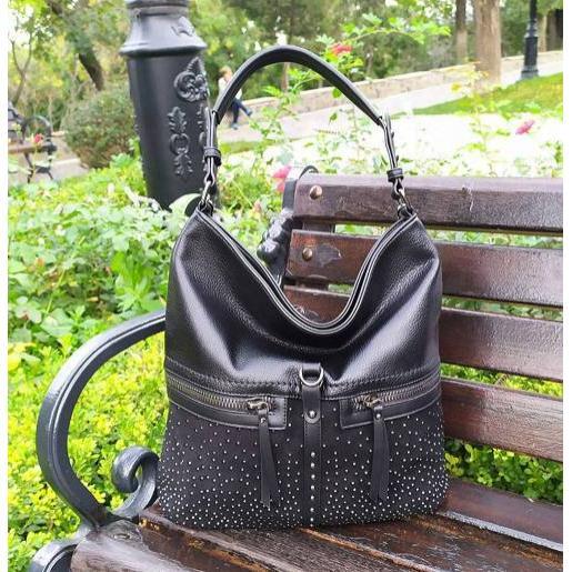 Женская сумка из кожзаменителя и замши черная 96D30-2