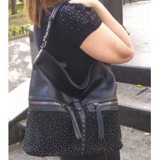 Женская сумка из кожзаменителя и замши 96D30-2 Черный