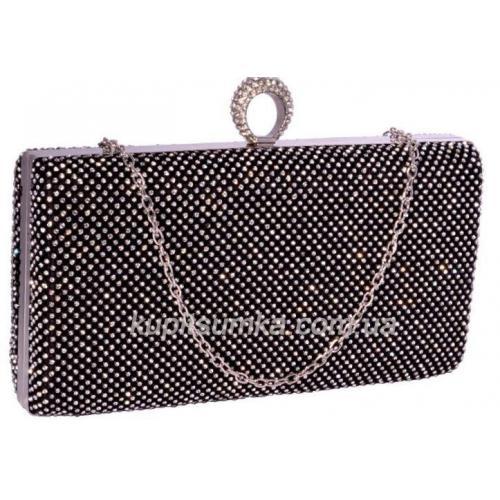 Вечерний женский клатч чёрного цвета 17U832