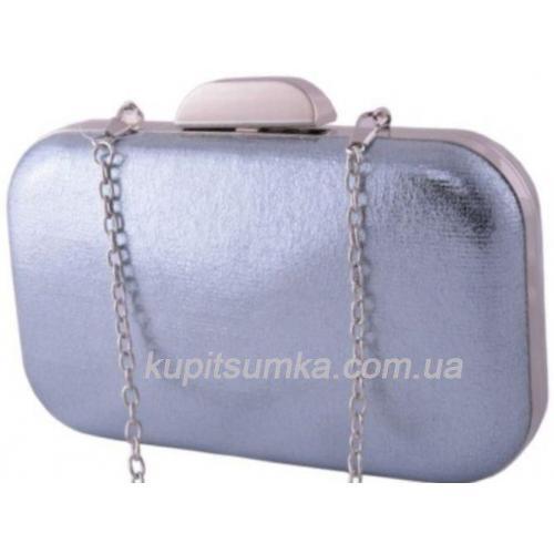 Гламурный клатч, отделка парча нежно - голубого цвета, фурнитура серебро