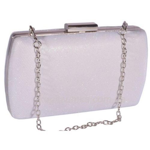 Женская сумочка - клатч из блестящей белой парчи