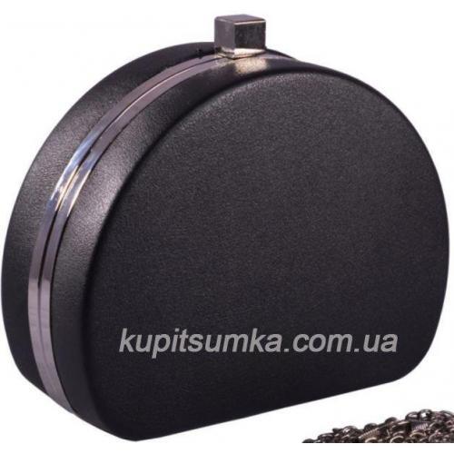 Клатч вечерний из кожзаменителя чёрного цвета с серебристой фурнитурой