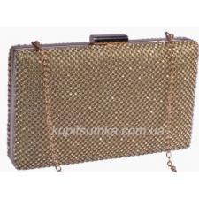 Модная золотая женская сумка - клатч с декоративными  кристаллами
