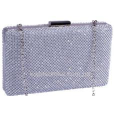 Модная серебристая женская сумка - клатч с декоративными  кристаллами