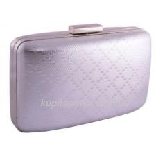 Серебристая сумка для торжественных случаев из кожзаменителя Фурнитура серебро