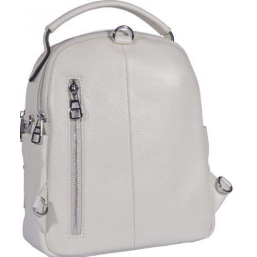 Молодежный кожаный рюкзак белого цвета из гладкой кожи