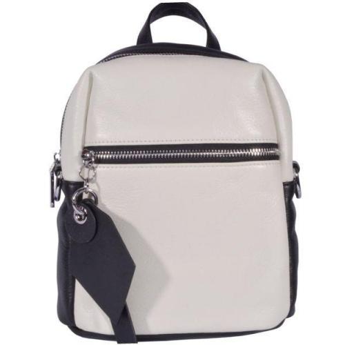 Женский кожаный мини рюкзак 66U58 White