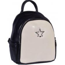 Двухцветный молодежный кожаный рюкзак с передним карманом