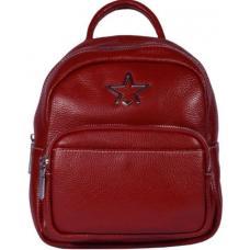 Современный красный кожаный рюкзак из натуральной мягкой кожи