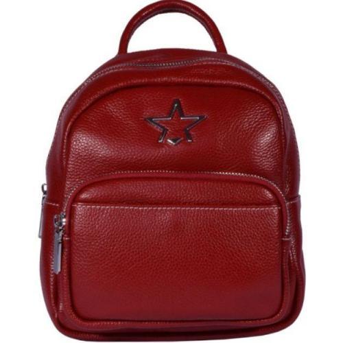 Красный кожаный рюкзак из натуральной кожи