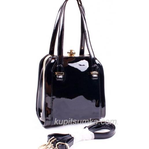 Женская чёрная сумка из искусственного лака
