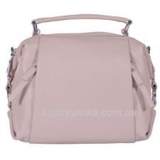 Кожаная сумка с двумя передними карманами Пудровая