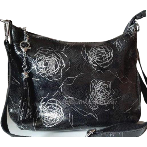 Женская сумка из натуральной кожи с растительным рисунком
