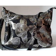 Женская сумка на плечо из замши черная 80FR62-23