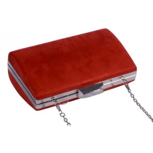Вечерний клатч из красной замши 756U59