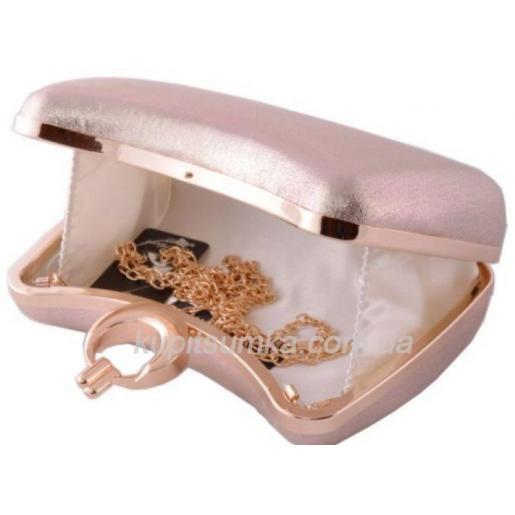 Классический вечерний клатч розовый перламутр 09И819