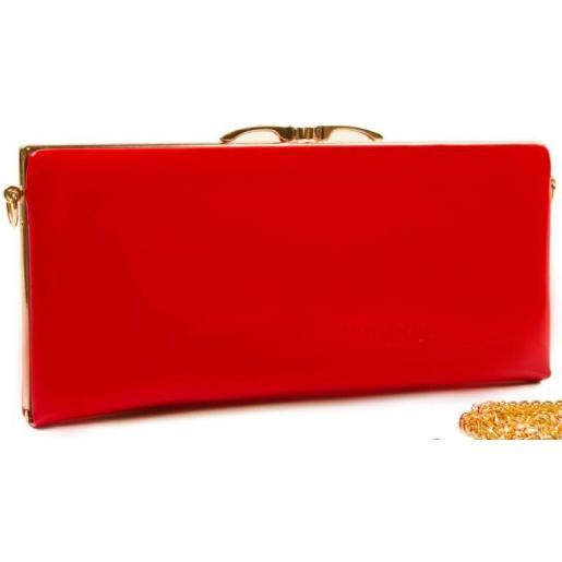 Классический лаковый клатч с логотипом бренда Красный