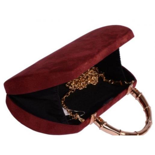 Элегантный вечерний клатч бордового цвета 18U74