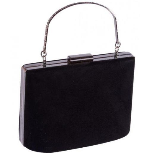 Черная вечерняя сумка из замши 66U16