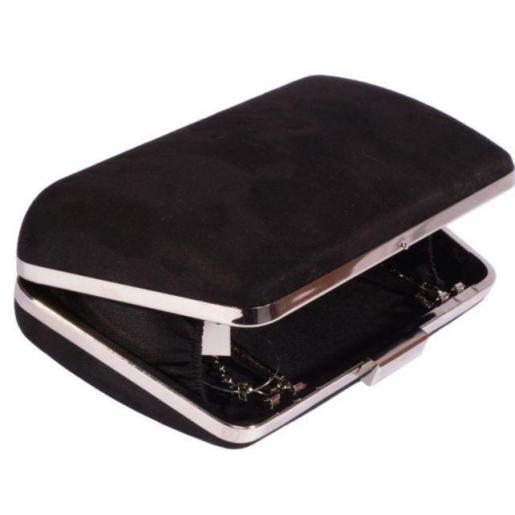 Женская сумка-клатч черного цвета из замши
