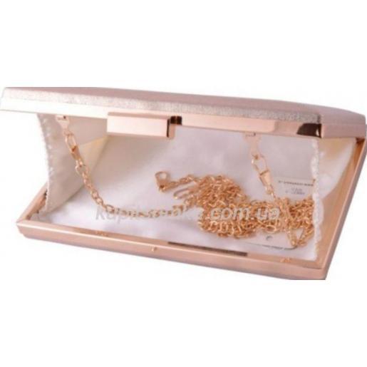 Вечерний женский клатч золотистый фурнитура золото