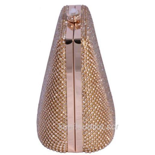 Коктейльный женский клатч золотистого цвета усыпанный стразами