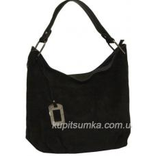 Вместительная женская сумка из натуральной замши Чёрная