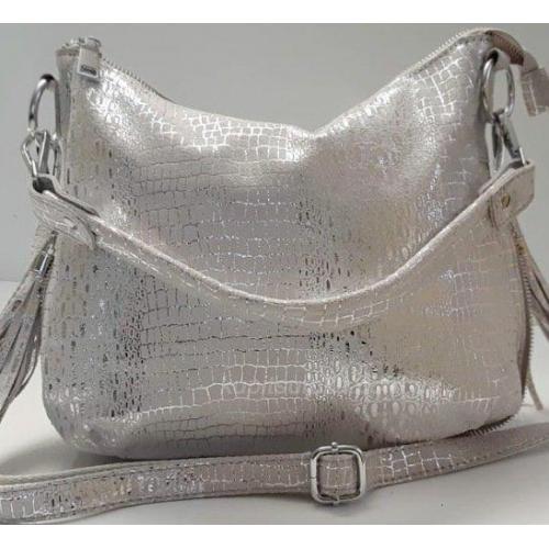Женская кожаная сумочка 81U16-1 Серебристый