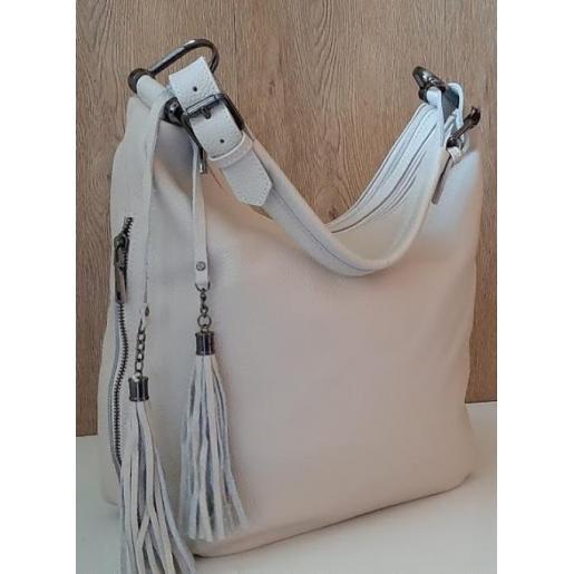 Кожаная сумка бежевая женская 1871N