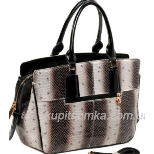 Женская сумка из натуральной кожи с чёрной отделкой