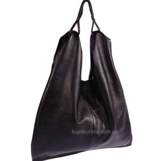 Женская сумка большого размера из натуральной зернистой кожи Чёрный