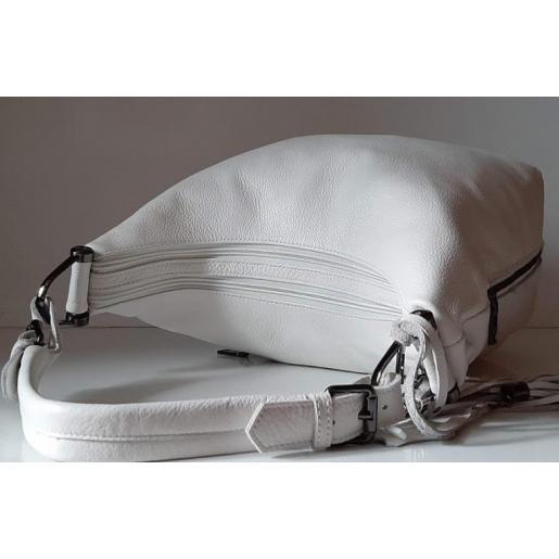 Кожаная белая женская сумка два отделения 48U