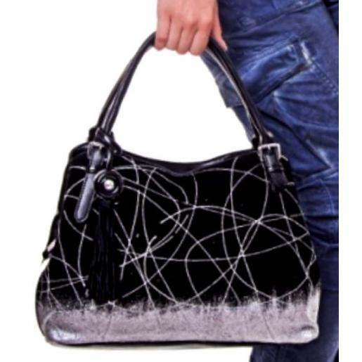 Женская сумка из замши и кожзаменителя черная VF314N