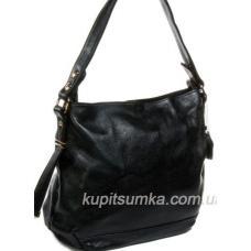 Кожаная женская сумка на плечо из черной натуральной кожи