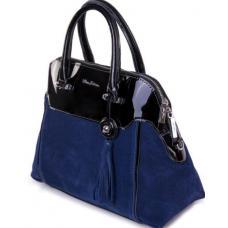 Кожаная сумка из синей замши и лака