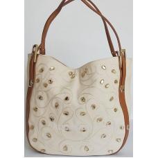 Женская бежевая сумка из эко кожи с украшениями